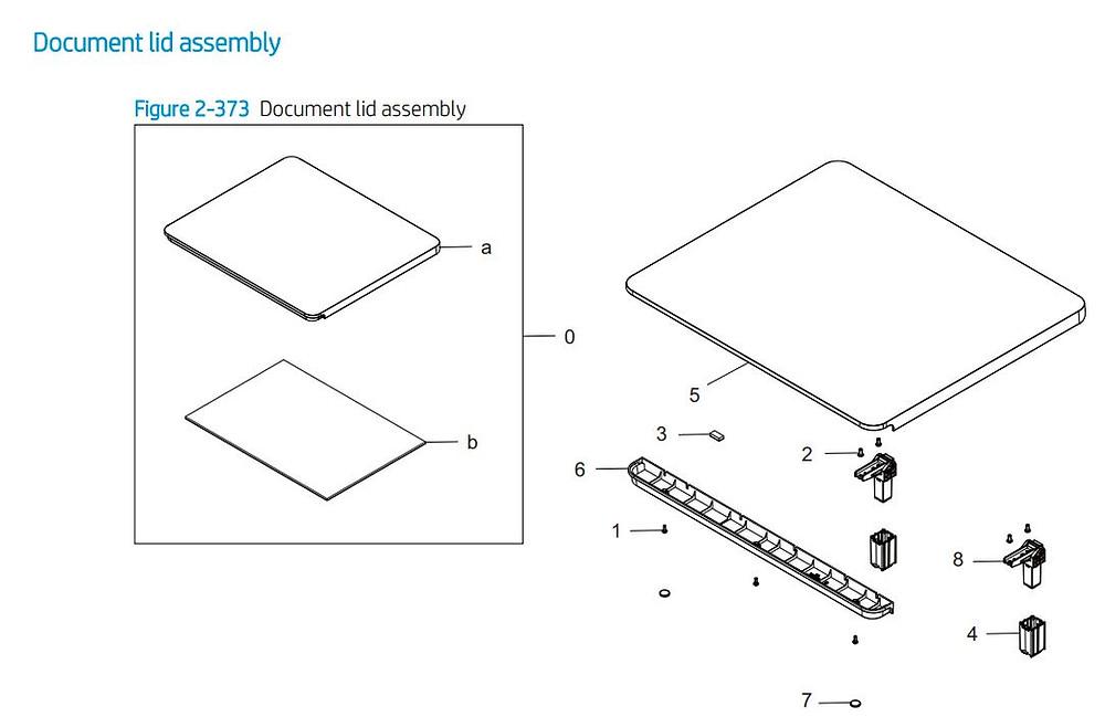 30. HP E77422 E77428 Document lid assembly printer parts diagram