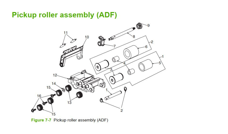 7. HP M5025 M5035 Pickup roller assembly printer part diagrams