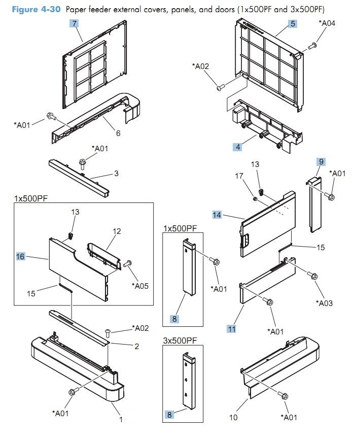 30. HP CM4540 Paper feeder external covers, panels and doors 1 x 500 and 3 x 500 printer parts diagram