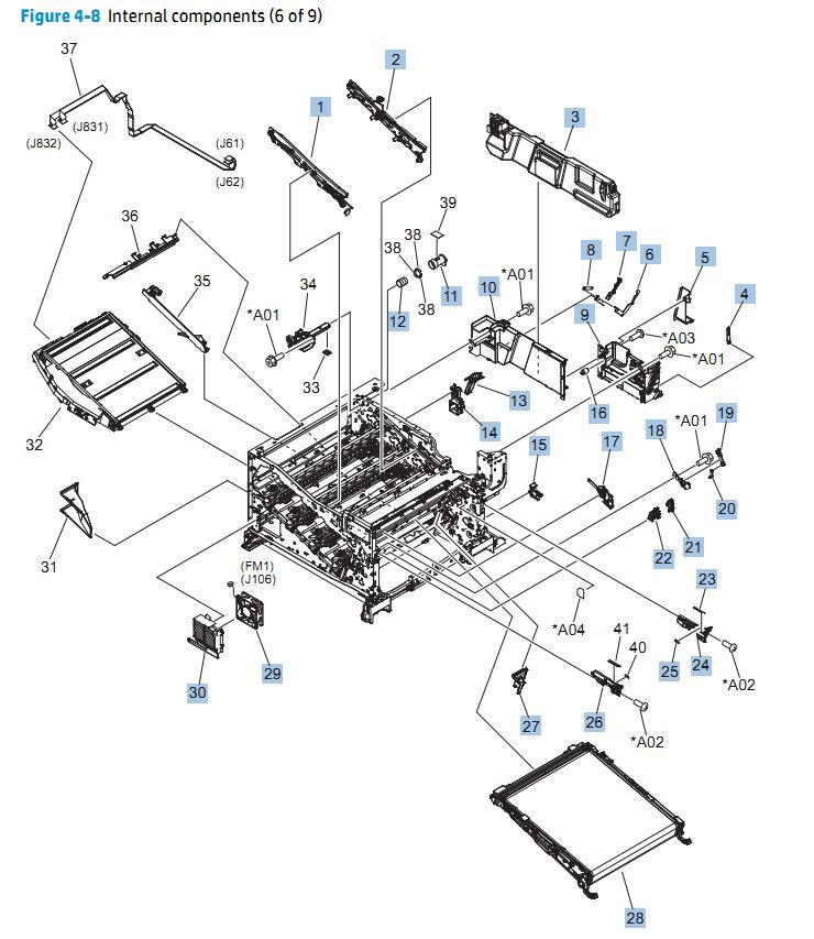 8. HP CP5525n Internal Components 6 of 9 printer parts diagram