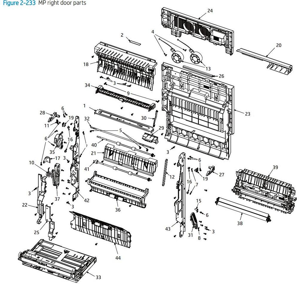 22. HP E77422 E77428 MP right door printer parts diagram