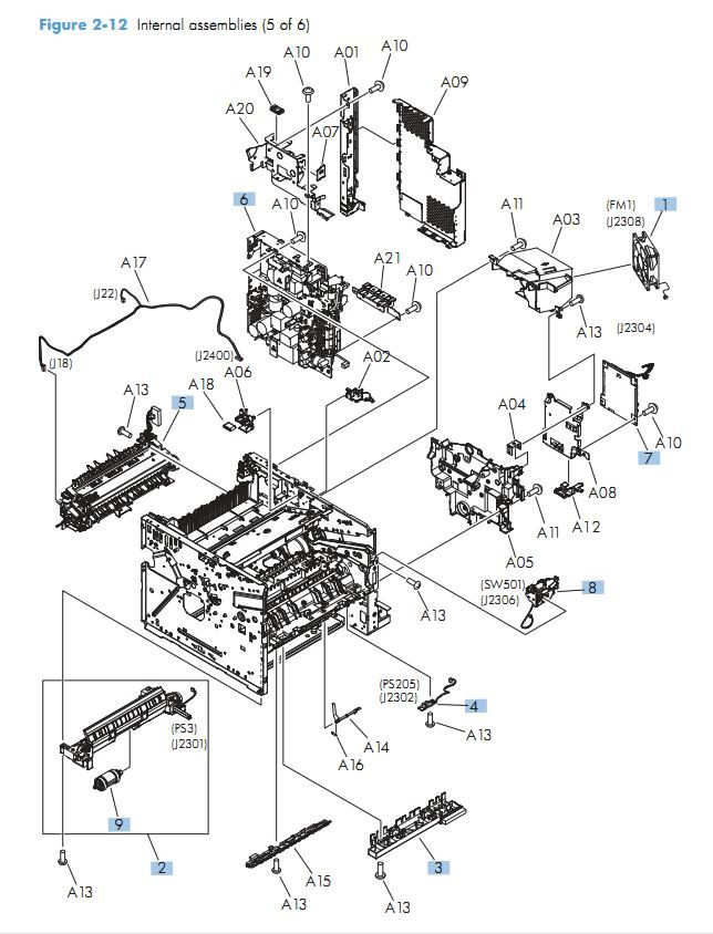 10. HP M525 Internal assemblies 5 of 6 printer parts diagram