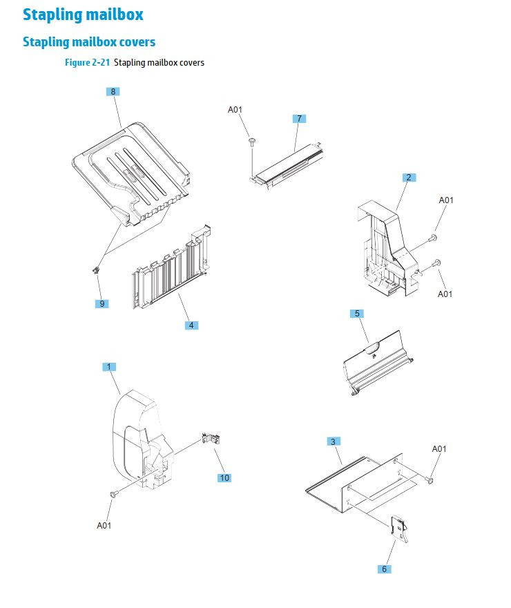 20. HP M630 Stapler mailbox printer parts diagram