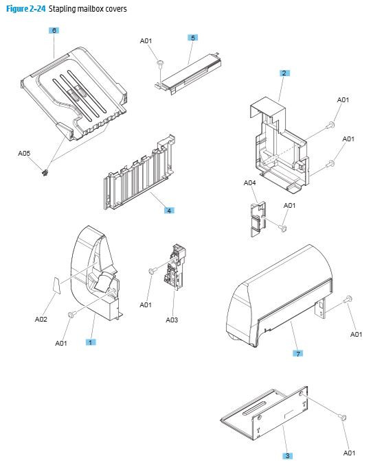 23. HP M680 M651 2,500 sheet paper feeder components printer parts diagram
