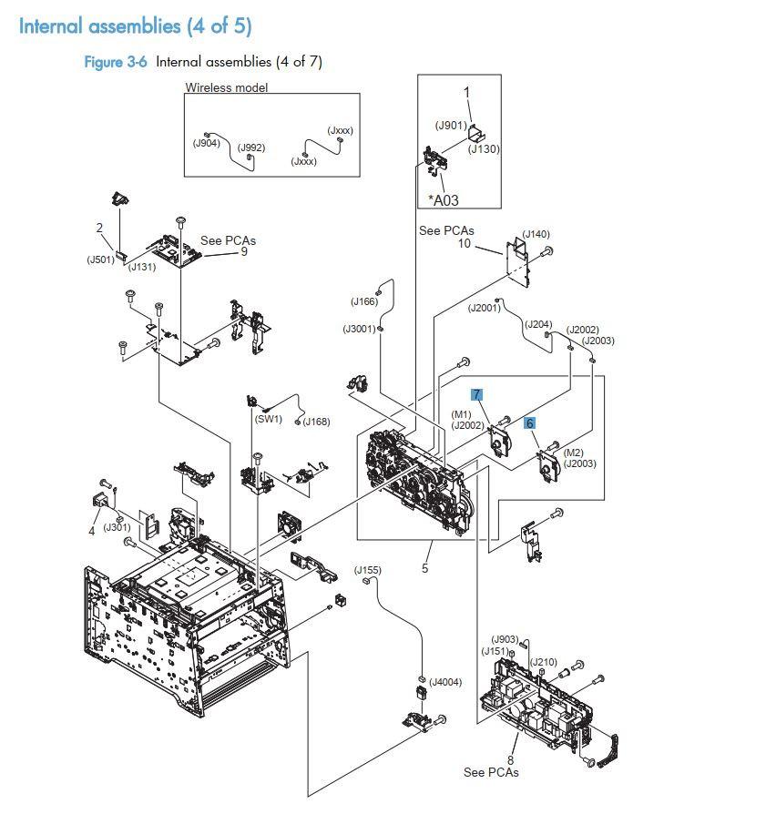 6.  HP LaserJet M375 M475 Internal assemblies 4 of 5 printer part diagrams