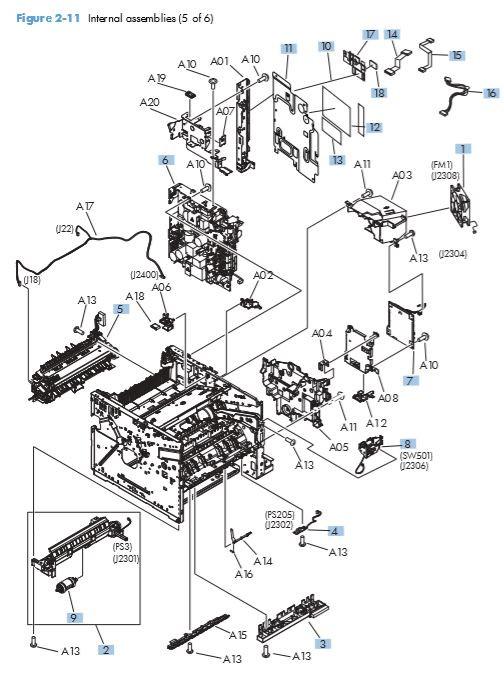 9. HP M521 M525 Internal assemblies 5 of 6 printer parts diagram