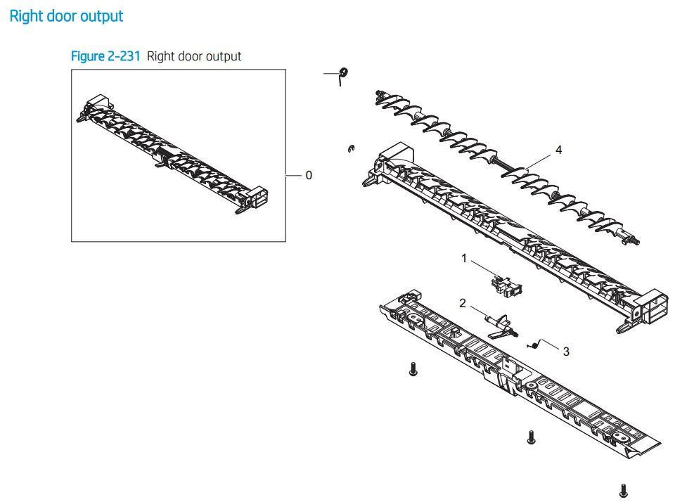 16. HP E72425 E72430 Right door output printer parts diagram
