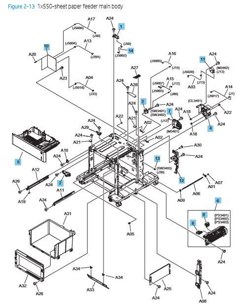 13. HP M652 M653 M681 M682 E65050 E65060 E67550dh E67560z 1 x 550 sheet paper feeder covers printer parts diagram