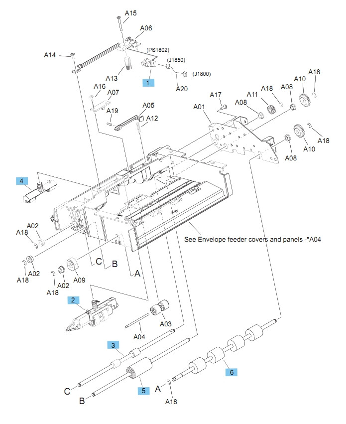 Envelope feeder Internal Components 1 of 2 M604 M605 M606 Printers Part Diagram