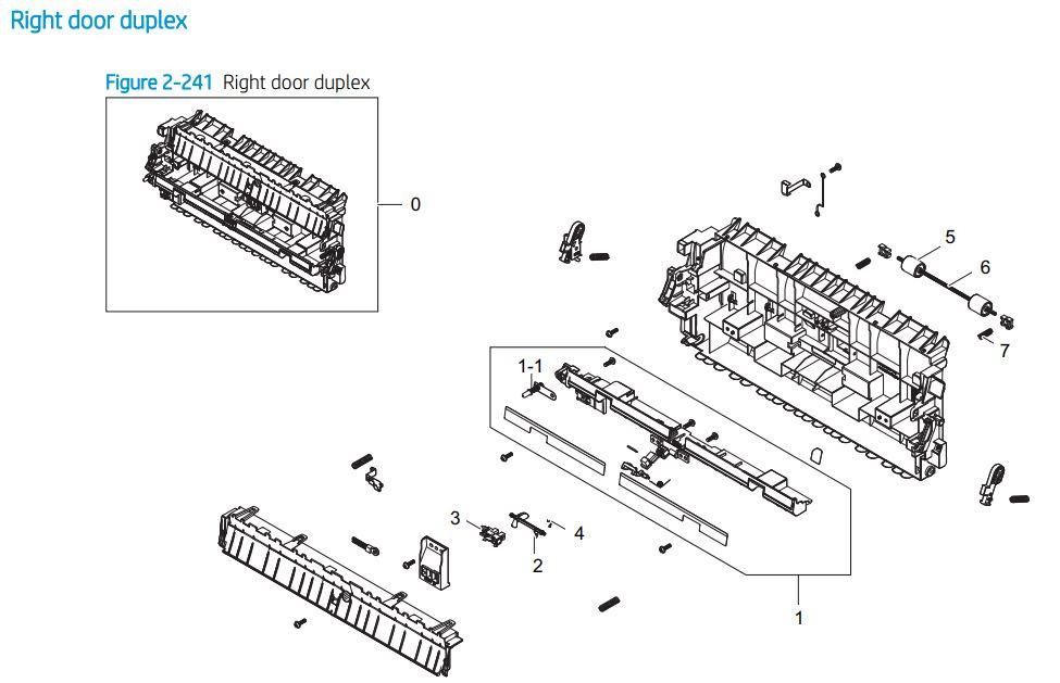 17. HP E72425 E72430 Right door duplex printer parts diagram