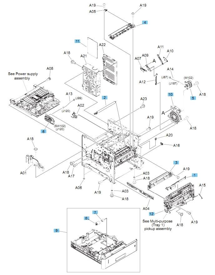 M604 M605 M606 Printers Part Diagram Internal Components, 1 of 3