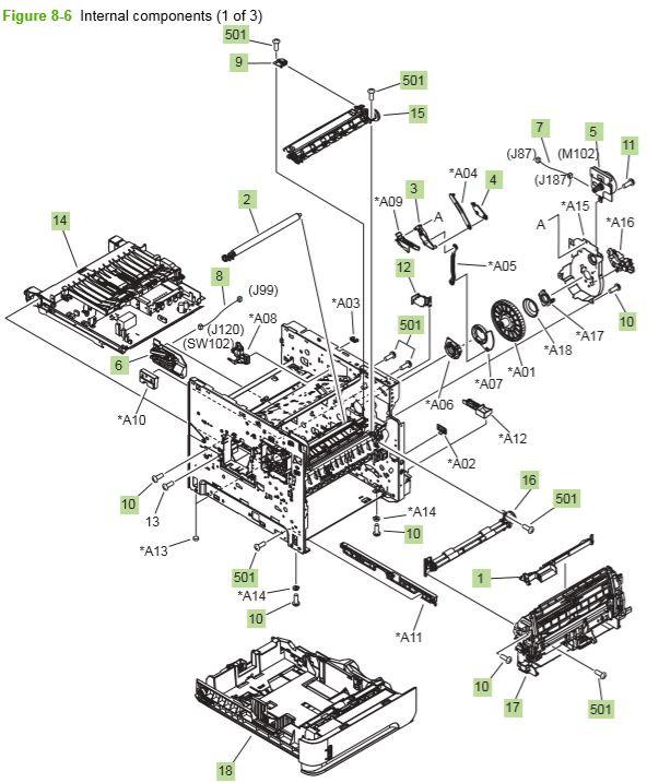 HP P4014 P4015 P4515 Internal components 1 of 3 printer parts diagram