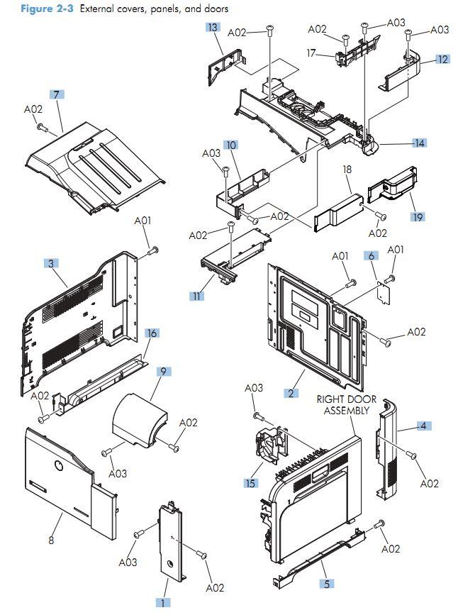 Hp M570 Laser Printer Part Diagrams