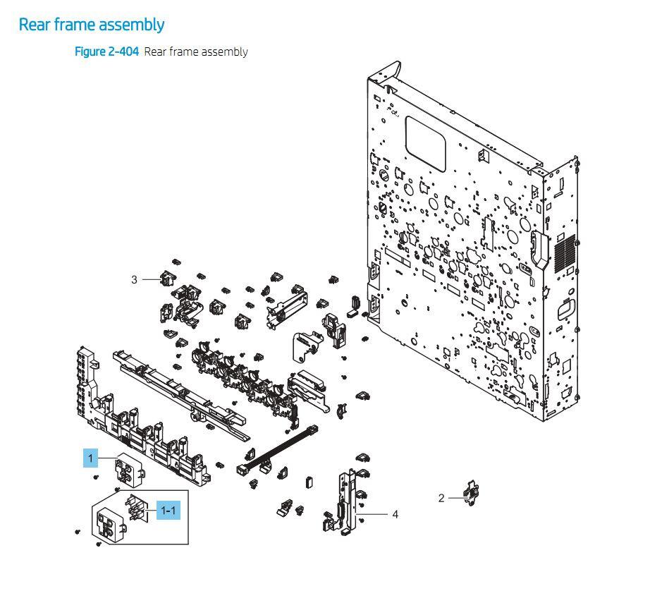 7. HP E87640 E87650 E87660 Rear Frame Assembly Printer Part Diagrams