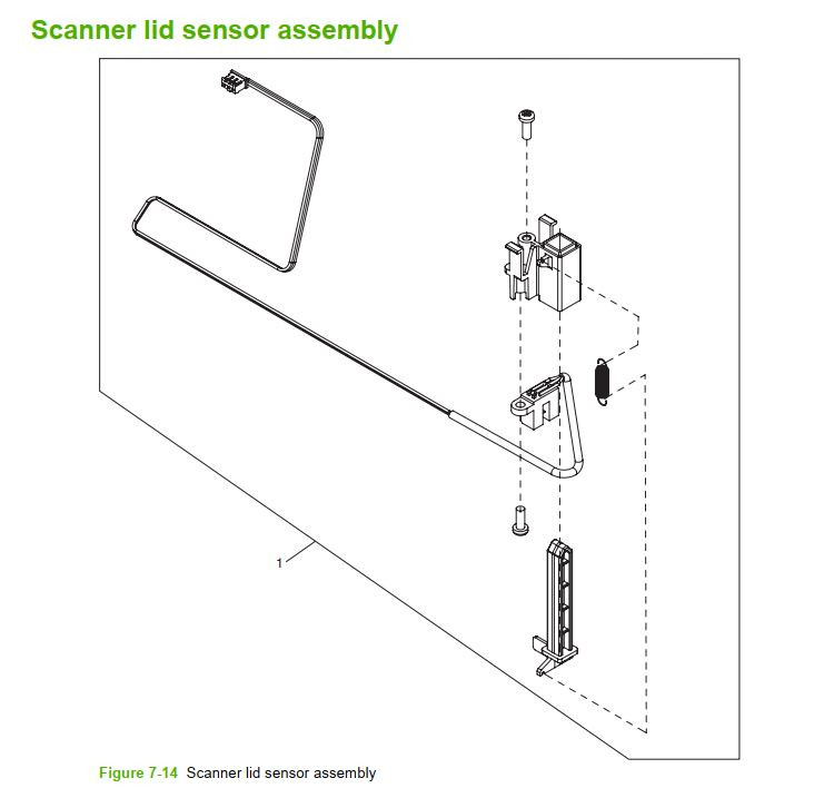 14. HP M5025 M5035 Scanner lid sensor assembly printer part diagrams