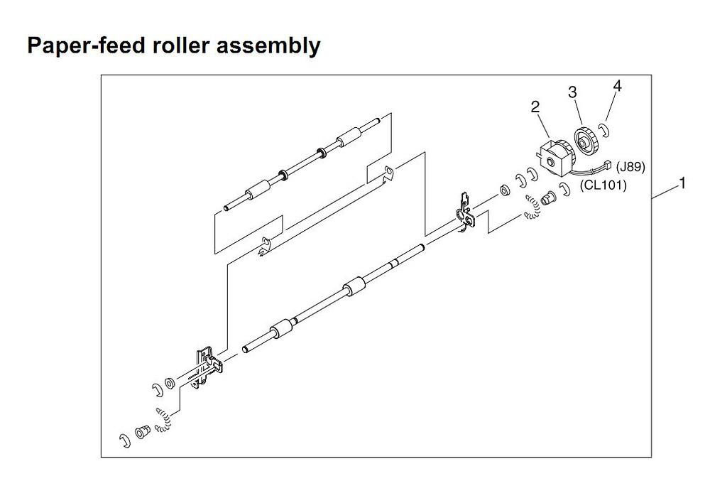 19. HP 4345 Q3942A 4345x Q3943A 4345xs Q3944A 4345xm Q3945A Paper feed roller assembly Printer Part Diagrams
