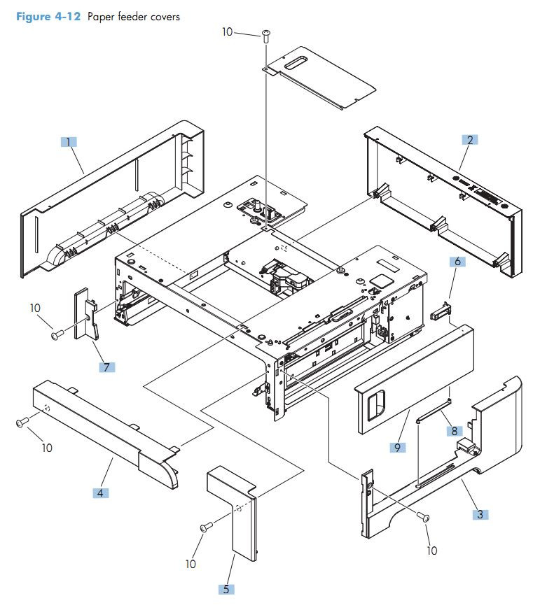 12. HP M551 Paper feeder covers printer parts diagram