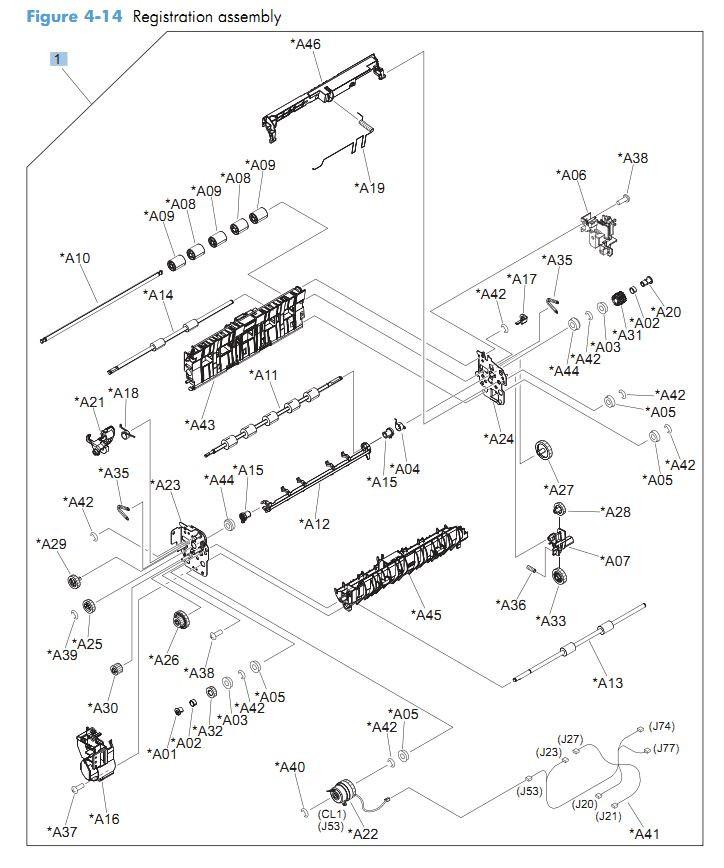 14. HP CM4540 Registration assembly printer parts diagram