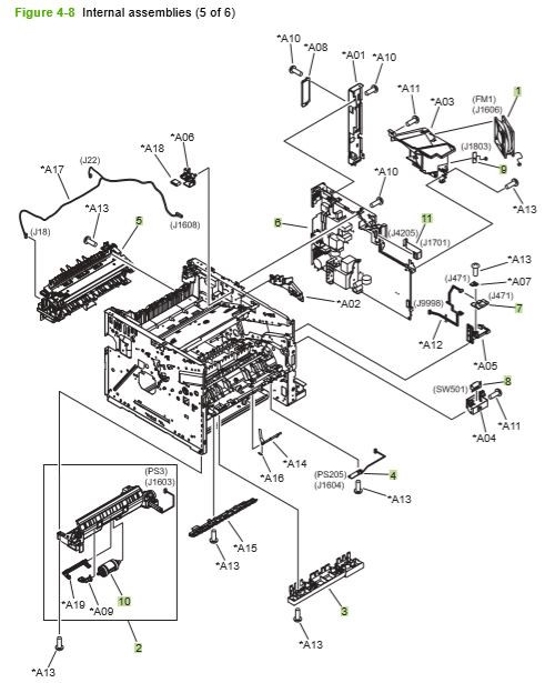 6) HP P3010 P3015 Internal assemblies 5 of 6 printer parts diagram