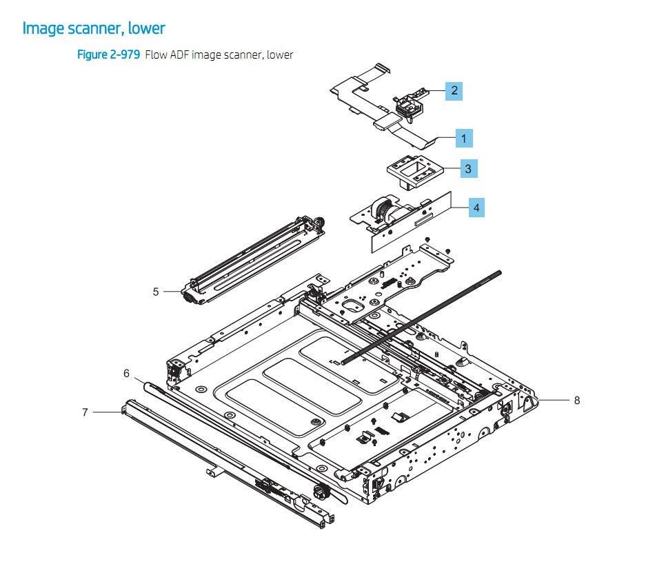 26. HP E87640 E87650 E87660 Image Scanner lower Printer Part Diagrams