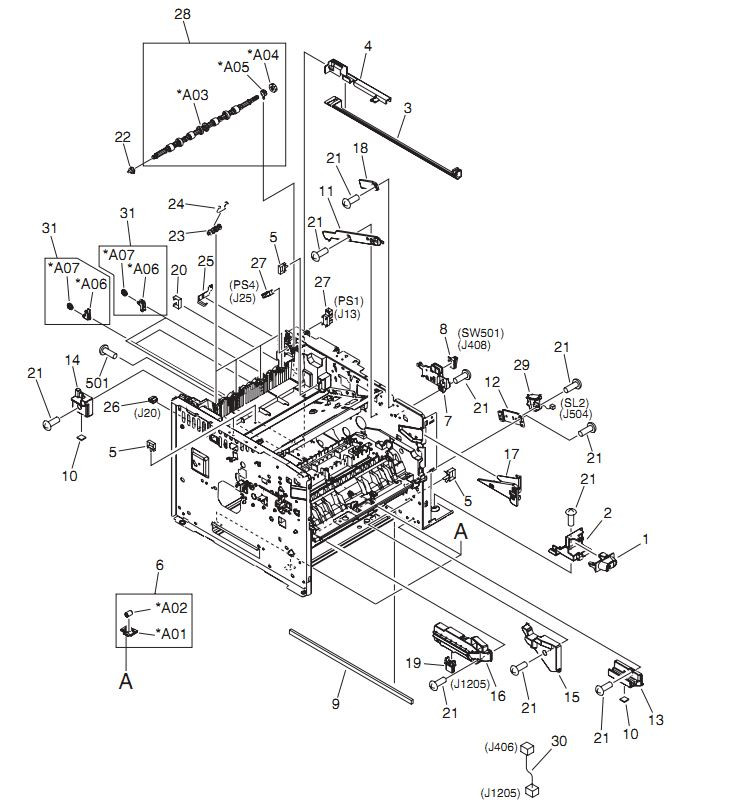 7. HP LaserJet P3005 Internal components 6 of 6 Printer Parts Diagrams
