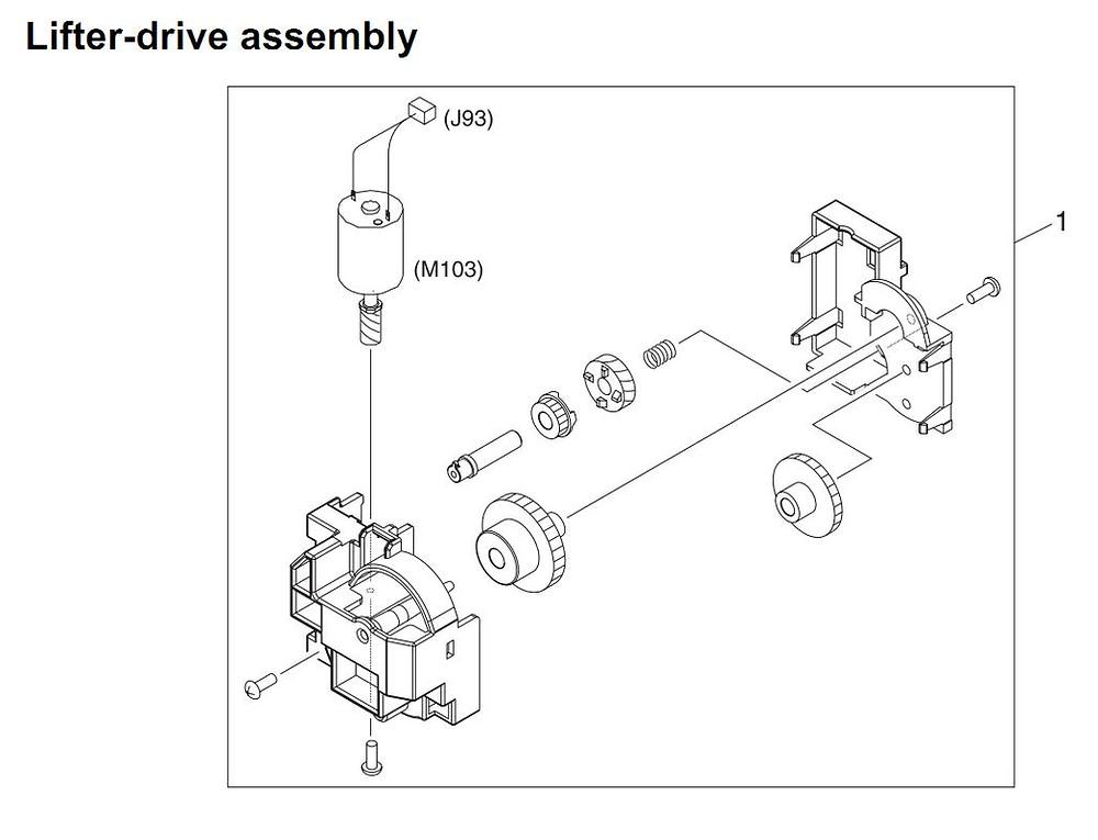 17. HP 4345 Q3942A 4345x Q3943A 4345xs Q3944A 4345xm Q3945A Lifter drive assembly Printer Part Diagrams
