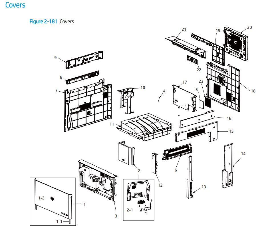 11. HP E72425 E72430 Covers and panels doors printer parts diagram
