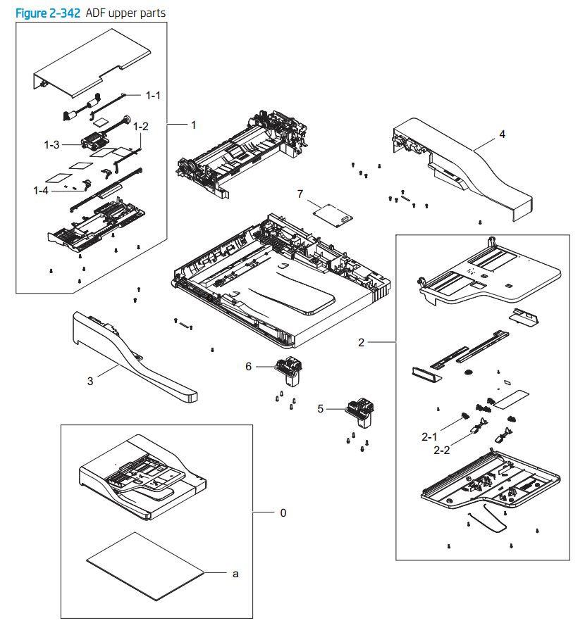 28. HP E77422 E77428 ADF upper assembly printer parts diagram
