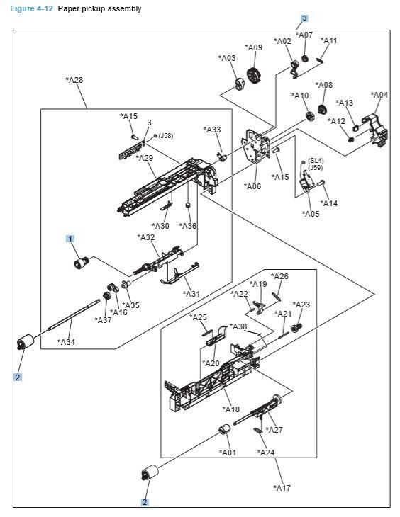 12) HP CP4025 CP4525 Paper Pickup Assembly Printer Diagram