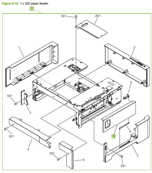 17) HP CP3525 Paper feeder 1 x 500 assembly printer parts diagram