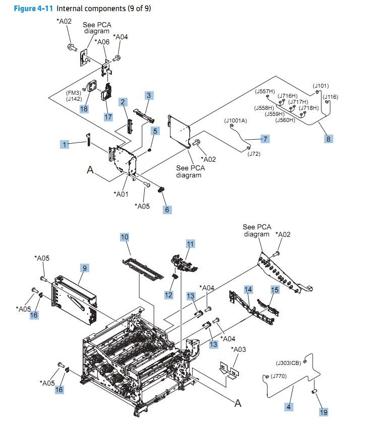 11. HP CP5525n Internal Components 9 of 9 printer parts diagram