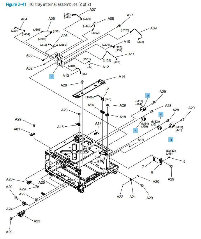 41. HP M776dn M776z M856 E85055 HCI paper tray internal assemblies 2 of 2 printer parts diagram