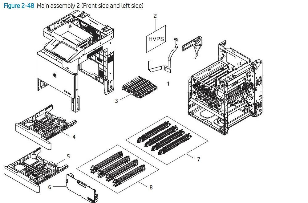 4. HP E77422 E77428 Main assembly 2 printer parts diagram