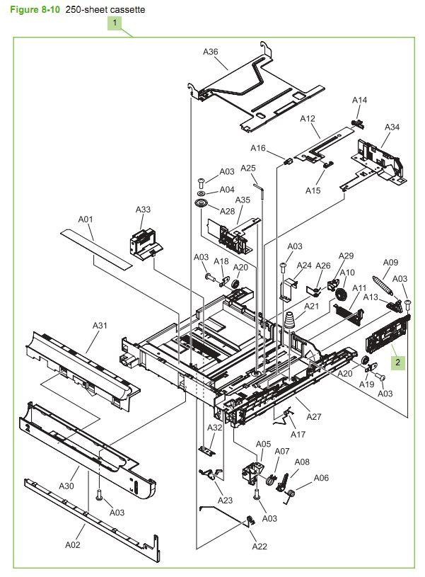 10. HP CM3530 250 sheet cassette printer parts diagram