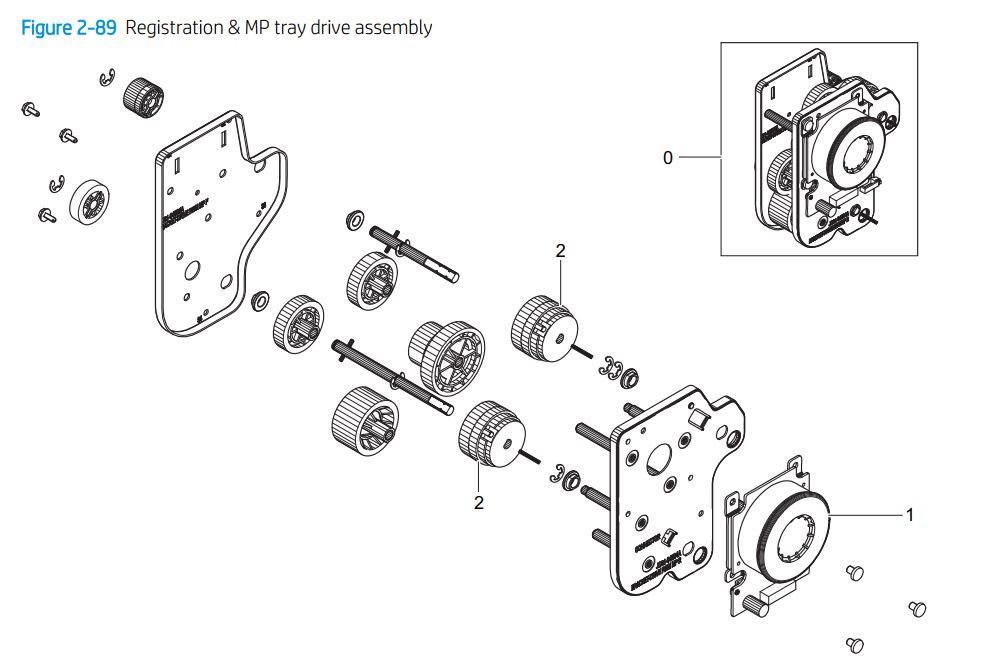 7. HP E77422 E77428 Registration & MP tray assembly printer parts diagram