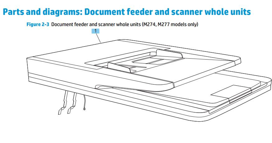 1 HP M252 M274 M277 Document feeder and scanner assembly printer part diagrams