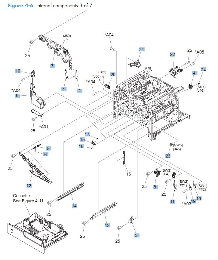 6. HP CM4540 Internal Components 3 of 7 printer parts diagram