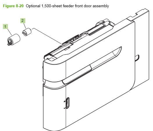 16) HP P4014 P4015 P4515 optional 1500 sheet feeder front door assembly printer parts diagram