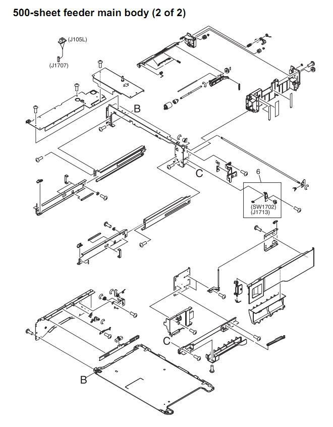 43. HP 4345 Q3942A 4345x Q3943A 4345xs Q3944A 4345xm Q3945A 500 sheet feeder main body 2 of 2 Printer Part Diagrams