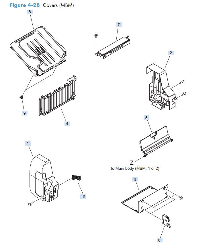 22. HP M4555 Main body MBM Covers printer parts diagram