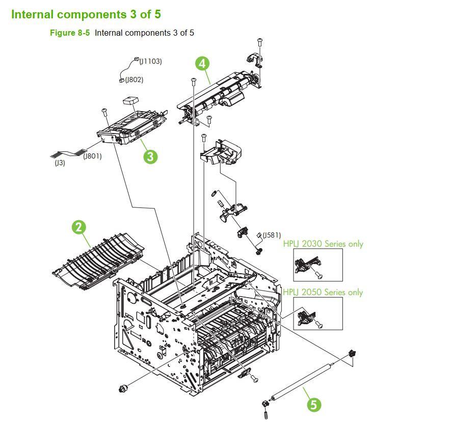 5. HP P2035 P2055 Internal assemblies 3 of 5 printer parts diagram