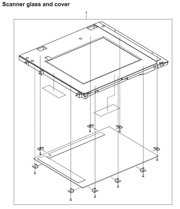 36. HP 4345 Q3942A 4345x Q3943A 4345xs Q3944A 4345xm Q3945A Scanner glass and cover kit Printer Part Diagrams