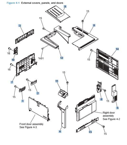 HP CP4025 CP4525 Laser Printer External Panels, Covers and Doors Diagrams