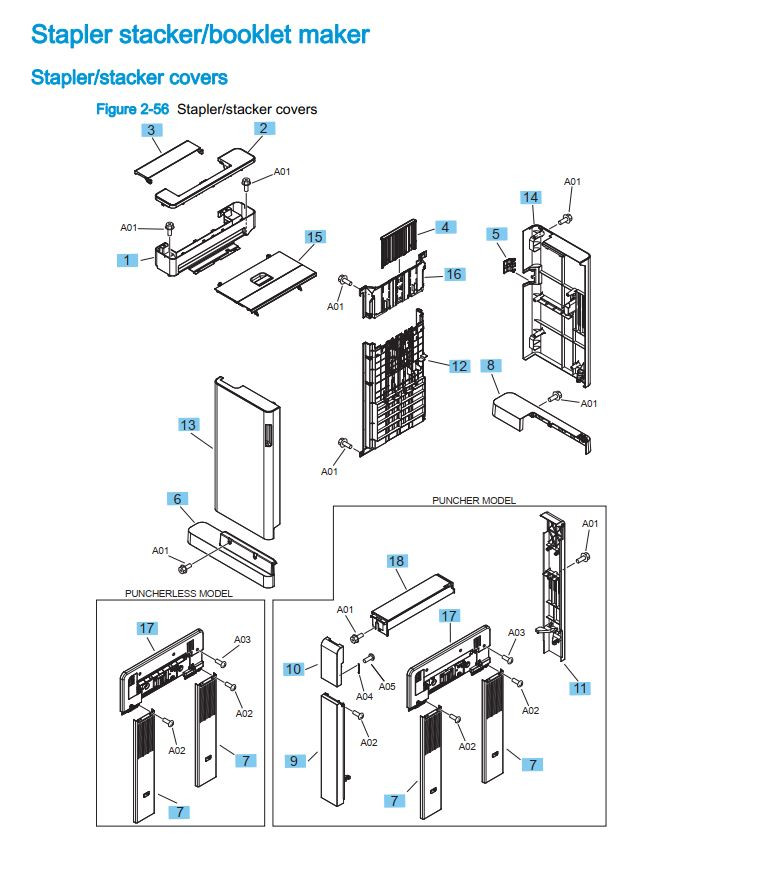 22. HP M855 M880 Stapler stacker booklet maker covers printer part diagrams