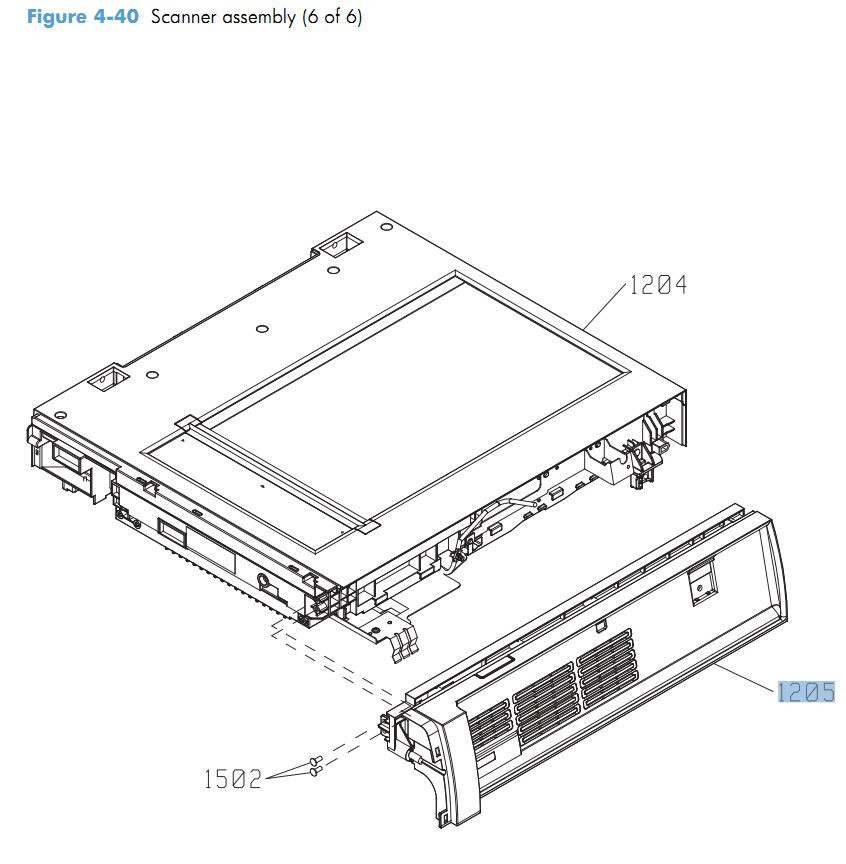 40. HP CM4540 Scanner assembly 6 of 6 printer parts diagram