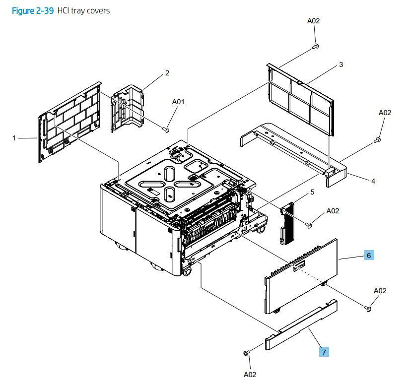39. HP M776dn M776z M856 E85055 HCI paper tray covers printer parts diagram