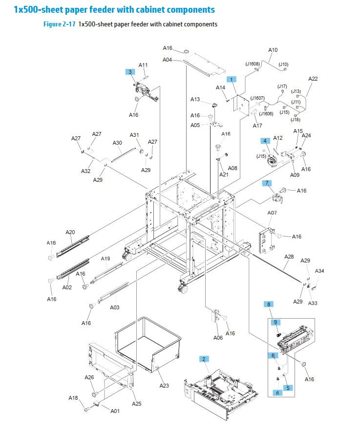 16. HP M630 1 x 500 sheet paper feeder with cabinet components printer parts diagram