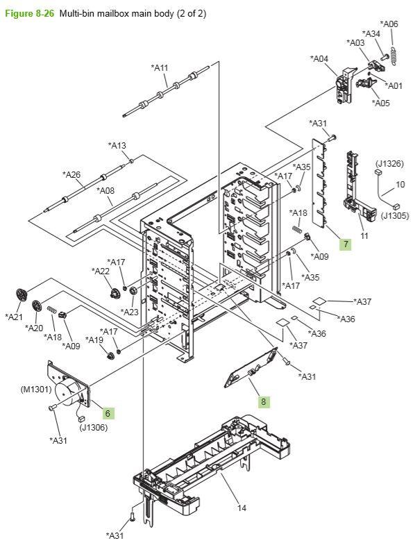 21) HP P4014 P4015 P4515 Multi bin mailbox main body 2 of 2 printer parts diagram