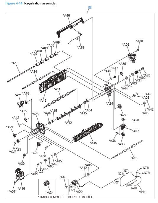 14) HP CP4025 CP4525 Registration Assembly Printer Diagram