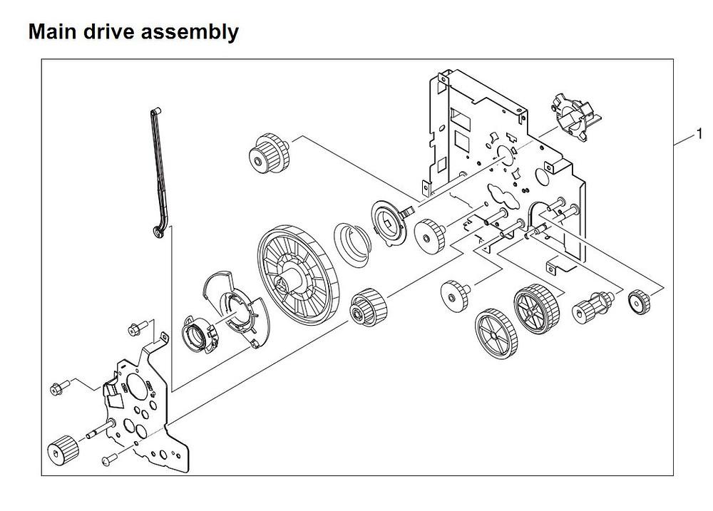 15. HP 4345 Q3942A 4345x Q3943A 4345xs Q3944A 4345xm Q3945A Main drive  assembly Printer Part Diagrams